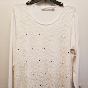 Sag Harbor Stretch Ivory Top with Lace